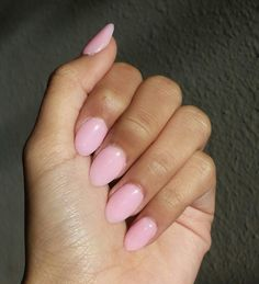 Pastel pink spring or valentines rounded nails
