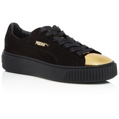 Puma Suede Metallic Cap Toe Platform Creeper Sneakers (155 AUD) ❤ liked on Polyvore featuring shoes, sneakers, metallic platform shoes, puma trainers, platform sneakers, platform trainers and cap-toe sneakers