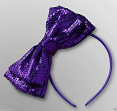 NWT Toby N. Y. C. Adorable Girl's Purple Satin/Sequin Bow Headband -One size - Re-listed February 1, 2014 - 7 day Auction