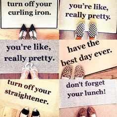 cute shoe selfies from Be There in Five customers! lighthearted door mats dedicated to making your day a little less stressful (and your home a little safer!) funny doormats, area rug, door mat, gift ideas, gifts for girlfriends, home decor, entryway  bethereinfive.etsy.com