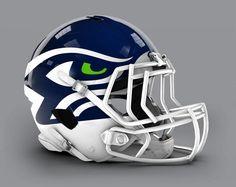 Seattle Seahawks - NFL Concept Helmet by Paul Bunyan Design Football Helmet Design, College Football Helmets, Sports Helmet, Football Uniforms, Sports Uniforms, Football Memes, Football Stuff, Football Things, Football Equipment