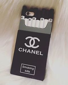 Cute+Smoking+kills+Chanel+black+silicone+phone+case+for+iphone+and+Samsung+models.+