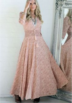 V-neck Print Floral 3/4 Sleeves Long Dress - Meet Yours Fashion - 1