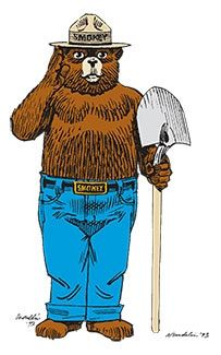 "Smokey's name wrong ""Smokey THE Bear"" there was a popular song in 1952 called ""Smokey the Bear."" Smokey's famous slogan. The most memorable version was created in 1947""Remember…Only YOU Can Prevent Forest Fires."" 2001 it was updated to ""Only You Can Prevent Wildfires. In h1950, an American black bear whose paws and legs were burned in a wildfire became the living symbol of Smokey Bear. first called ""Hotfoot Teddy,"" and then renamed Smokey."