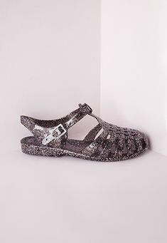 Flat Jelly Shoes Black Glitter - Shoes - Sandals - Missguided