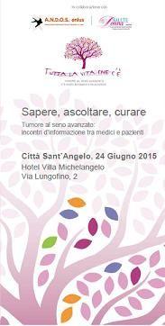"""CITTA' SANT'ANGELO (PE) – Seconda tappa in Abruzzo per """"Tutta la vita che c'è"""", la campagna nazionale itinerante di sensibilizzazione che ha l'obiettivo di accendere i riflettori sul tumore al seno avanzato e dare voce a migliaia di pazienti. In Abruzzo quasi 10.000 donne convivono con una diagnosi di carcinoma mammario, tra loro sono molte"""