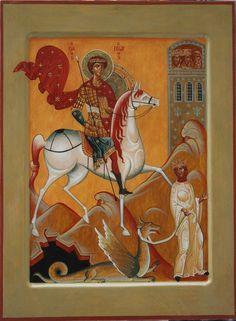 Иконописная мастерская | ГАЛЕРЕЯ Saint George And The Dragon, Saints, Good News, Stained Glass, Horses, Contemporary, Painting, Journaling, Study