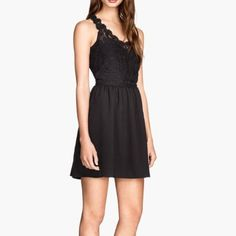 H&M Lace Bodice Black Dress
