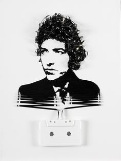 "Erika Iris Simmons -- ""Ghost in the Machine"" Series -- ""Bob Dylan."" Simmons creates portraits from cassette tapes, film, and other analog-age and neoLuddite material."