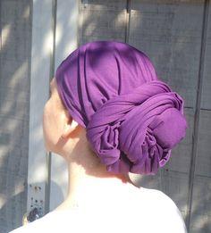 Purple Head Scarf.