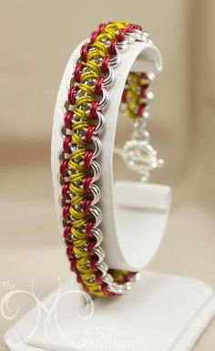 Japanese weave with bright aluminum, yellow and red enameled copper accent.- I'd like to do this in other autumn colors, maybe brown, red, copper? Jump Ring Jewelry, Wire Jewelry, Jewelry Crafts, Jewelry Art, Beaded Jewelry, Handmade Jewelry, Jewlery, Jewelry Ideas, Maille Viking