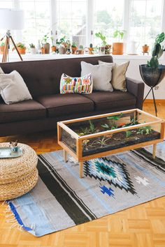 Via @nipomo . I must have a living coffee table and blanket rug!