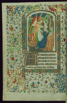 Book of Hours, Archangel Gabriel genuflecting, right hand … | Flickr