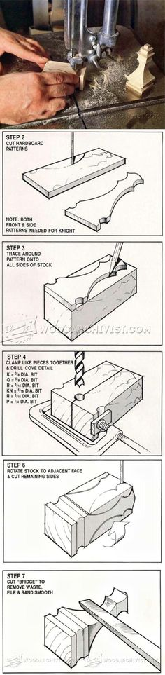 Band Saw Chess Pieces - Woodworking Plans and Projects - Woodwork, Woodworking, Woodworking Tips, Woodworking Techniques Woodworking Techniques, Woodworking Jigs, Woodworking Projects Plans, Woodworking Essentials, Carpentry, Small Wood Projects, Chess Pieces, Wood Patterns, Planer