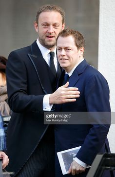 Edward Spencer-Churchill and Tom Parker Bowles attend a service of thanksgiving for the life of John Spencer-Churchill, 11th Duke of Marlborough at The Guards Chapel, Wellington Barracks on February 4, 2015 in London, England.