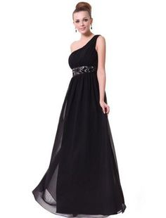 One Shoulder Empire Line Sequins Padded Long Evening Gown 09770