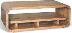 Retro Curve Oak Coffee Table With Shelf (Coffee table)