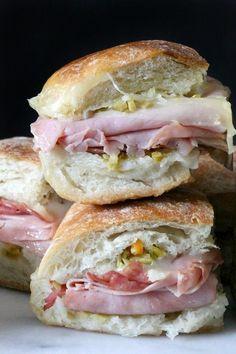 Muffuletta dip recipe....Put a fun twist on Mardi Gras eats---Super Bowl Snacks...Nola Bites - (Mini Muffuletta Sandwiches)