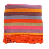 "Colorful striped bedspreads from Mexico. This beautiful and unique cotton foot-loomed bedspread is from a magical town in the state of Morelia, Mexico called Patzcuaro. Patzcuaro is a Tarascan Indian name meaning ""place of delights&#8221"