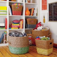 Abaca rope and rattan floor basket features a band of bright color to make your storage 50% livelier.  Its sturdy construction makes it perfect for any room in the houseDetails, details Nod exclusive Dip Dye effect rope floor baskets are available in four colors Features two handles for easy transport Can safely transport up to 10 pounds Hand woven item, exact dimensions may varyShow 'em what you're made of Abaca rope and rattanExtras! Extras! Coordinates with our Half Tone Cube Baskets.