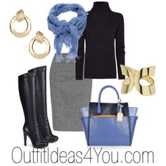 Black Turtleneck With Periwinkle and Grey