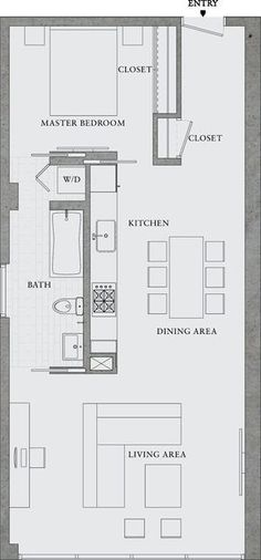 MIL apt for farm.  726 sqft (approx 40' x 18') this is one of my FAVE floorplans ever - i have been sketching this out in my mind forever, and hadn't found anyone else that had a similar concept.