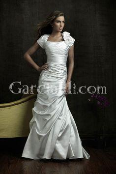 Mermaid Square Floral Sleeve Pleated Flowing Wedding Dress