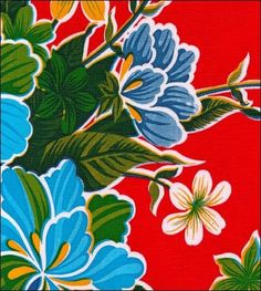 Hawaii red oilcloth fabric from www.oilclothbytheyard.com