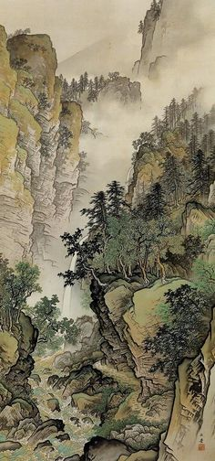 Gyokudo Japan 川合玉堂 (I used to draw comics like this when I was a teenager.)KAWAI Gyokudo Japan 川合玉堂 (I used to draw comics like this when I was a teenager. Japanese Painting, Chinese Painting, Chinese Art, Chinese Landscape, Landscape Art, Landscape Paintings, Landscapes, Art Chinois, Japon Illustration