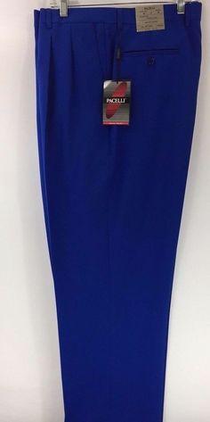 Men's Royal Blue Dress Pants 2-Pleats with Open Hem Polyester Pacelli 54 - 56 #Pacelli #DressPleat