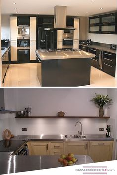 We Love Both Of These Modern Kitchens, Full Stainless Steel Worktops And A  Kitchen Island