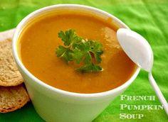 French Pumpkin Soup. Perfect for a fall supper. #pumpkinsoup #fallsoups