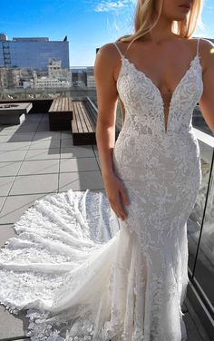 Sexy 3D Lace Wedding Dress with V-Neck and Beading - Martina Liana Wedding Dresses Wedding Dress Bustle, Elegant Wedding Dress, Bridal Gowns, Wedding Gowns, Lace Wedding, Wedding Venues, Wedding Dresses Plus Size, Designer Wedding Dresses, Fit And Flare