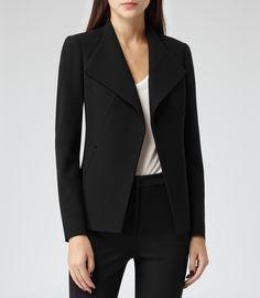 Womens Black Sharply Tailored Jacket - Reiss Sunny