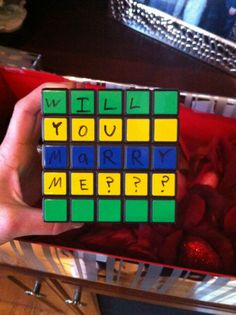 Rubik's Cube Marriage Proposal - her face is so sweet. Love it!