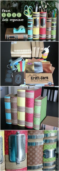 Cover paper mache books with scrapbook paper to create a faux book DIY desk organizer. Make these for your home or office or as a special teacher's gift.
