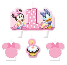 This adorable Minnie 1st Candle Set includes candles in the shape of a Minnie Mouse head, a cupcake and a scene with Minnie Mouse and Daisy Duck.