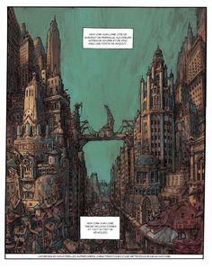 New York-sur-Loire – Bibendum celeste – Nicolas de Crécy City Drawing, Bd Comics, City Maps, Weird Art, Fantasy Landscape, Celestial, Japanese Artists, Art Background, New York