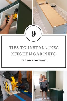 Come learn our tips for installing IKEA kitchen cabinets and making them look high-end and built-in. We used these dark green cabinets in our laundry room and they turned out absolutely gorgeous! Tidy Kitchen, Ikea Kitchen Cabinets, Green Cabinets, Ikea Kitchen Diy, Ikea Kitchens, Kitchen Stuff, Kitchen Tips, Kitchen Ideas, Ikea Kitchen Installation