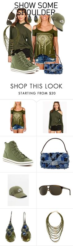 """""""Olive II, at the fair"""" by caroline-buster-brown ❤ liked on Polyvore featuring Liberty Wear, Keds, Fendi, NIKE, Vuarnet, Alexis Bittar, Fragments and showsomeshoulder"""
