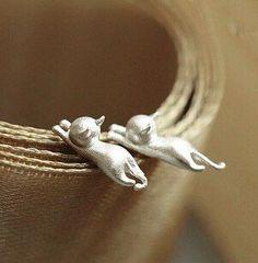 Sterling Silver Small Cat Stud Earrings For Women