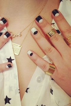 The coolest and cleverest Spring nail art to get your creative juices flowing. Pictured: Black-and-White Geometric