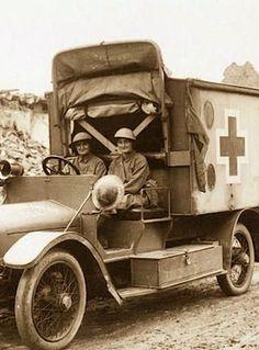 ELSIE AND MAIRI GO TO WAR....Elsie Knocker and Mairi Chisholm in their Wolseley Ambulance, Pervyse, Belgium 1916