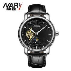 Fashion Business Men Leather Clock Mechanical Watch Brand  Design Classic Mechanical Self Wind Wrist Dress Skeleton Watch Gift