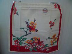 Vintage 1940u0027s Old Stock Wilendur Kitchen Tea Dish Towel Table Runner~Bird  Butterfly Floral~