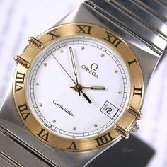 1991 Vintage Omega Constellation Cal 1438 Quartz White Dial Date Men's Dress Watch by LKWatch on Etsy