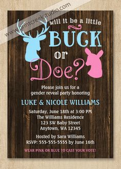 Buck or Doe Gender Reveal Party Invitations