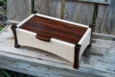 Curly maple and rosewood keepsake box