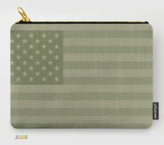 Camo Stars and Stripes Carry-All Pouch. USA Flag in Military Khaki Colors. Design by Peter Schildwächter.