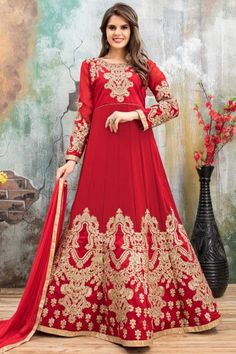 #Mother's #day #Dresses - Red Faux Georgette Anarkali Churidar Suit With Dupatta - DMV14795